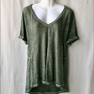 Free People We The Free Army Green VNeck Tee,Small